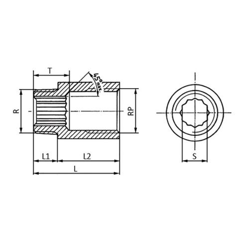 Hahnverlängerung DIN 3523 EN 10226-1 NPS 1/2 Zoll 43mm 13mm 30mm SPRINGER
