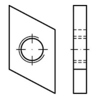 Hammerkopf Gewindeplatte Typ 28/15, M 6 , gal Zn gal Zn S