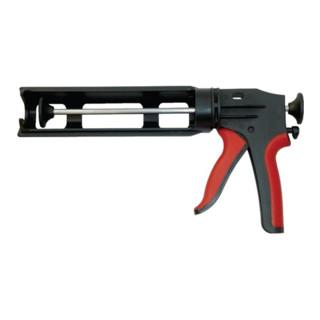 Handpresse Kunststoff f.310ml Kartusche schwarz/rot Robust drehbare schale