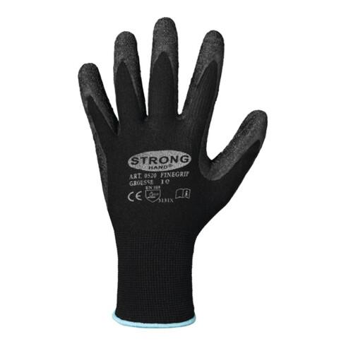 Handschuhe Finegrip Gr.11 schwarz EN 388 PSA II Nyl.m.Schrumpf-Latex STRONGHAND
