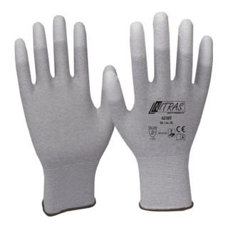 Handschuhe Gr.XXL grau/weiß Nylon-Carbon m.Polyurethan EN 388,EN 16350 Kat.II