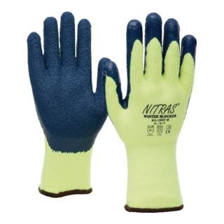 Handschuhe WINTERBLOCKER EN388 EN511 Gr.10 Baumwolle gelb Latex, teilbesch. blau