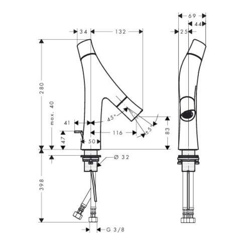 hansgrohe 2-Griff-Waschtischmischer 80 AXOR STARCK ORGANIC DN 15 mit Zugstangen-Ablaufgarnitur G 1 1/4 chrom