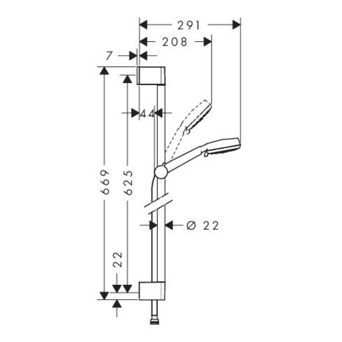 hansgrohe Brauseset CROMETTA 100 VARIO Brausestange Unica´Croma 650 mm weiß/chrom