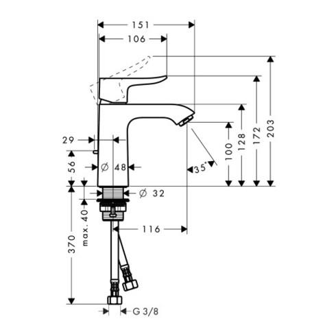 hansgrohe Einhebel-Waschtischmischer 110 METRIS DN 15, CoolStart chrom