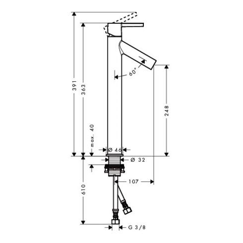 hansgrohe Einhebel-Waschtischmischer 250 AXOR STARCK DN 15, für Waschschalen, mit Hebelgriff, ohne Zugstange chrom