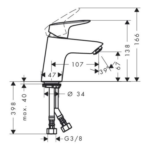 hansgrohe Einhebel-Waschtischmischer 70 LOGIS DN 15, CoolStart ohne Ablaufgarnitur chrom