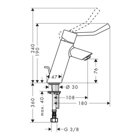 hansgrohe Einhebel-Waschtischmischer TALIS CARE DN 15, mit extra langem Griff ComfortZone 80 chrom