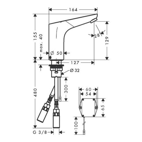 hansgrohe Elektronik-Waschtischmischer FOCUS DN 15 mit Temperaturregulierung, Batteriebetrieb 6 V chrom