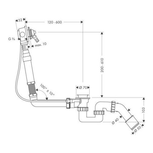 hansgrohe Grundkörper für Exafill Wanneneinlauf mit Ab- und Überlaufgarnitur