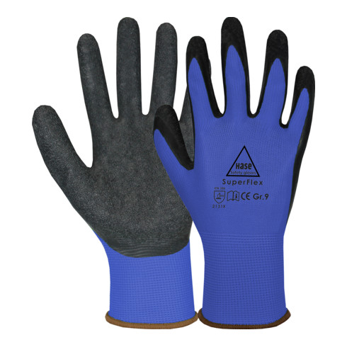 Hase Sicherheitshandschuhe Superflex blue, Polyamid/Latex