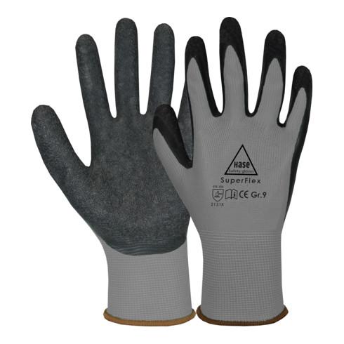 Hase Sicherheitshandschuhe Superflex grey, Polyamid/Latex