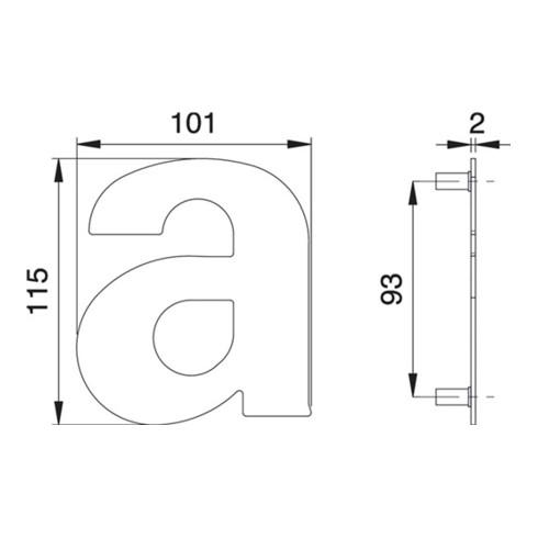 Hausnummer Buchstabe a VA ma 114mm B.101mm EDI
