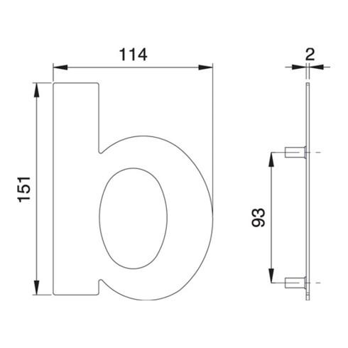 Hausnummer Buchstabe b VA ma 150mm B.114mm EDI