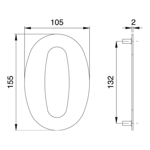 Hausnummer Ziffer 0 VA ma 150mm B.105mm EDI