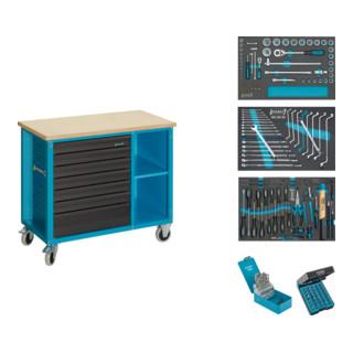 HAZET Fahrbare Werkbank mit Sortiment 177W-7/169 Schubladen flach: 6x 80x527x348 mm Schubladen hoch: 1x 165x527x348 mm Anzahl Werkzeuge: 169