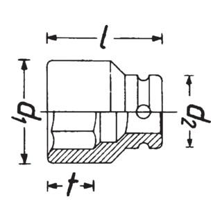 HAZET Schlag-, Maschinenschrauber-Steckschlüssel-Einsatz (Doppel-6kt.) 900SZ-18 Vierkant hohl 12,5 mm (1/2 Zoll) Außen-Doppel-Sechskant-Tractionsprofil 18