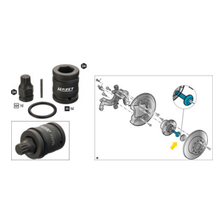 HAZET Schlag-, Maschinenschrauber Steckschlüsseleinsatz-Satz 2549-18/4 ∙ 4-teilig