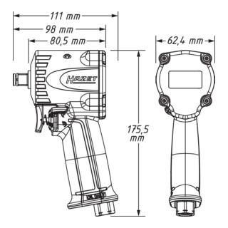 HAZET Schlagschrauber, extra kurz 9012M-1 ∙ Lösemoment maximal: 1200 Nm ∙ Vierkant massiv 12,5 mm (1/2 Zoll) ∙ Jumbo Hammer-Schlagwerk