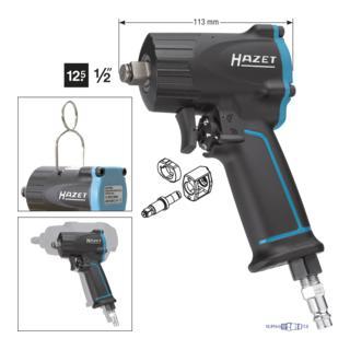 HAZET Schlagschrauber extra kurz 9012M ∙ Lösemoment maximal: 1100 Nm ∙ Vierkant massiv 12,5 mm (1/2 Zoll) ∙ Jumbo Hammer-Schlagwerk