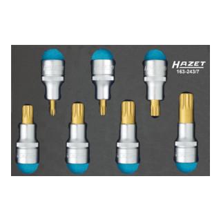 HAZET Schraubendreher-Steckschlüsseleinsatz-Satz (XZN) 163-243/7 Vierkant hohl 12,5 mm (1/2 Zoll) Innen Vielzahn Profil XZN M6 - M18 Anzahl Werkzeuge: 7