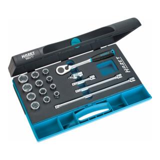 HAZET Steckschlüssel-Satz 880/17 Vierkant hohl 10 mm (3/8 Zoll) Außen-Sechskant-Tractionsprofil Anzahl Werkzeuge: 17