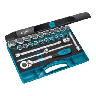 HAZET Steckschlüssel-Satz 900 Vierkant hohl 12,5 mm (1/2 Zoll) Außen-Sechskant-Tractionsprofil Anzahl Werkzeuge: 25