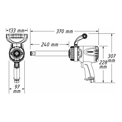 HAZET Twin Turbo Schlagschrauber lange Spindel 9014LGTT Hochleistungs-Doppelhammer-Schlagwerk