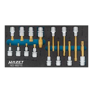 HAZET XZN Schraubendreher-Einsatz-Satz, Innen-Vierkant (Robertson) 12,5=<sup>1</sup>⁄<sub>2</sub>'', 15-teilig 163-482/15 Vierkant hohl 12,5 mm (1/2 Zoll) Innen Vielzahn Profil XZN M5 - M12 Anzahl Werkzeuge: 15