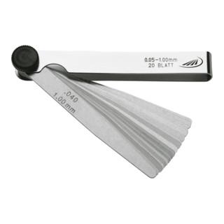 Helios Preisser Fühlerlehre 20 Blatt 0,05-1,00 mm 100 mm