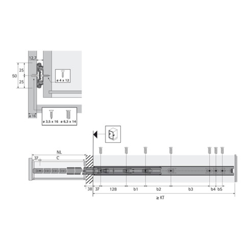 Hettich Kugelauszug KA 4932, Einbaubreite 12,7 mm