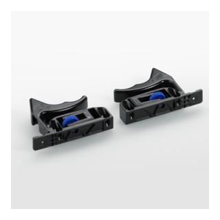 Hettich Schnäpper für Holzschubkästen mit genutetem Boden Quadro 25 und Quadro V6, links und rechts