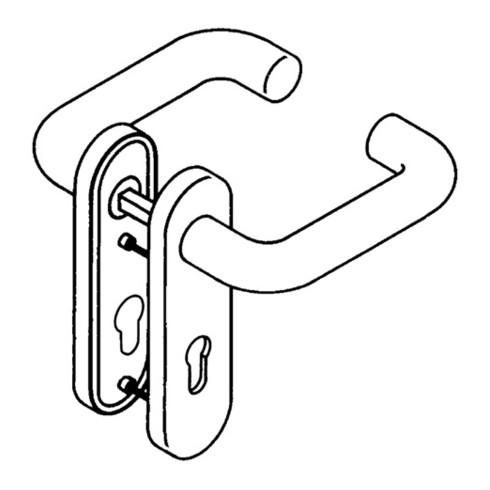 HEWI Kurzschildgarnitur 111R02.110 90 Ku.90 FBM Drückergarnitur