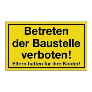 Hinweiszeichen Betreten der Baustelle verboten L400xB250mm Ku. schwarz/gelb