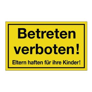 Hinweiszeichen Betreten verboten L300xB200mm Kunststoff schwarz/gelb