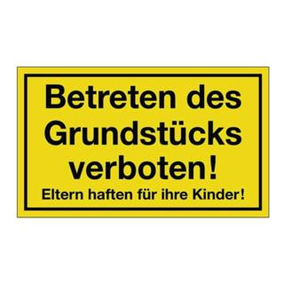Hinweiszeichen Grundstück betreten verboten L250xB150mm Ku. schwarz/gelb