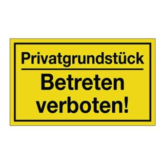 Hinweiszeichen Privatgrundstück/Betreten verboten! L250xB150mm Ku.schwarz/gelb