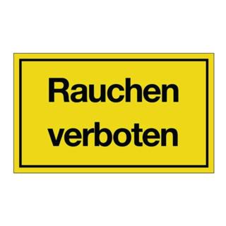 Hinweiszeichen Rauchen verboten L250xB150mm Kunststoff schwarz/gelb