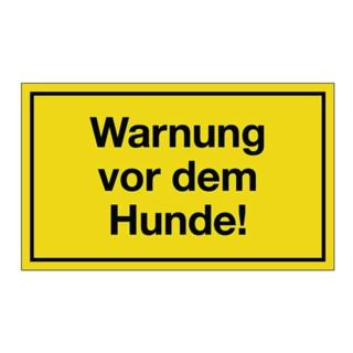 Hinweiszeichen Warnung vor dem Hunde L250xB150mm Kunststoff schwarz/gelb