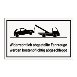 Hinweiszeichen widerrechtliches Parken L250xB150mm Kunststoff weiß/schwarz