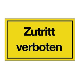 Hinweiszeichen Zutritt verboten L250xB150mm Kunststoff schwarz/gelb