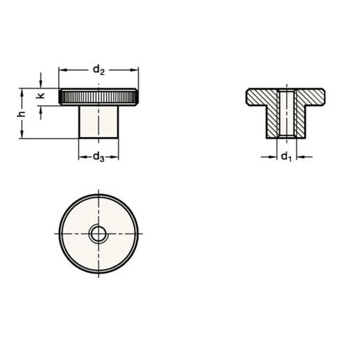 Hohe Rändelmutter DIN466 d1 M 10mm d2 36mm STA brün. Ganter