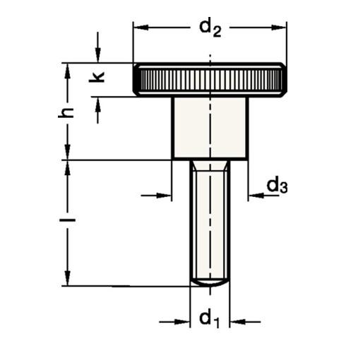 Hohe Rändelschraube DIN 464 d1 M 5mm d2 20mm d3 10mml 8mm STA GANTER