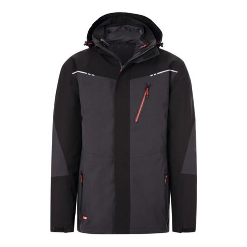Holex 3-in-1 Jacke, dunkelgrau / schwarz / rot, Unisex-Größe: L