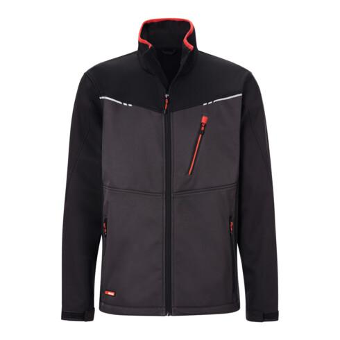 Holex Softshell Jacke, dunkelgrau / schwarz / rot, Unisex-Größe: 2XL