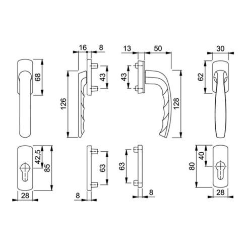 Hoppe Balkontürgarnitur New York flacher Griff  Aluminium 63 - 73 Profilzylinder (PZ)