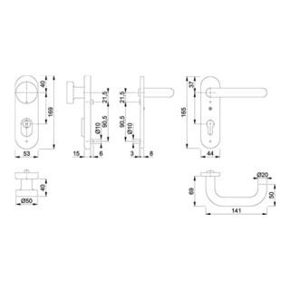 Hoppe FS-Schutzgrt.Paris FS-58/3332KZA/353K-1/138F Alu.F1 D/K f.TS 42-47mm PZ DIN L/R