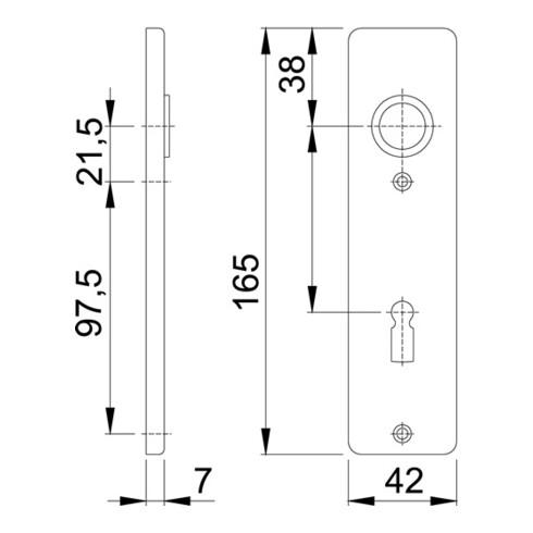 Hoppe Kurzschild-Paar 202KP Alu. F4 BB
