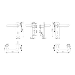 Hoppe Kurzschildgarnitur Paris E138Z/353K VA F69 OB Drückergarnitur