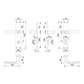Hoppe Langschild-Drückergarnitur Birmingham Aluminium